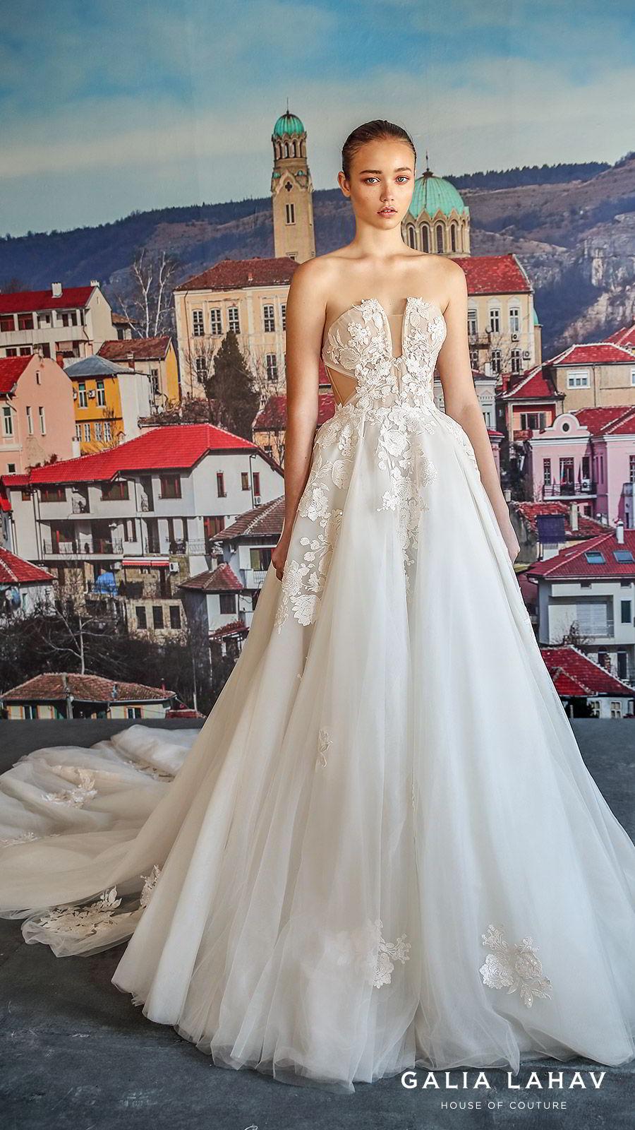 galia lahav fall 2019 bridal strapless split neckline embellished bodice side cutout ball gown wedding dress chapel train romantic elegant (querida) mv