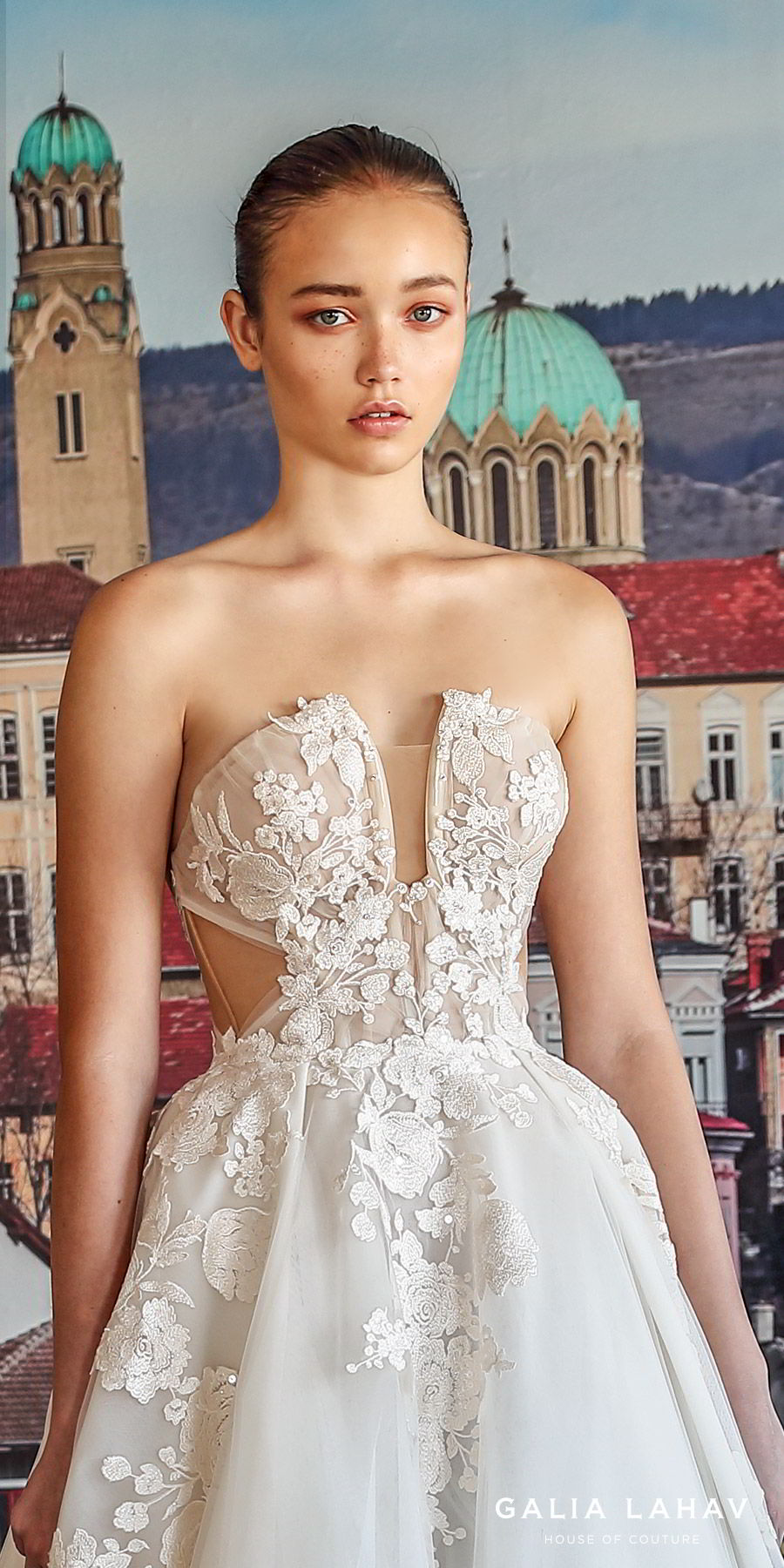 galia lahav fall 2019 bridal strapless split neckline embellished bodice side cutout ball gown wedding dress chapel train romantic elegant (querida) zv