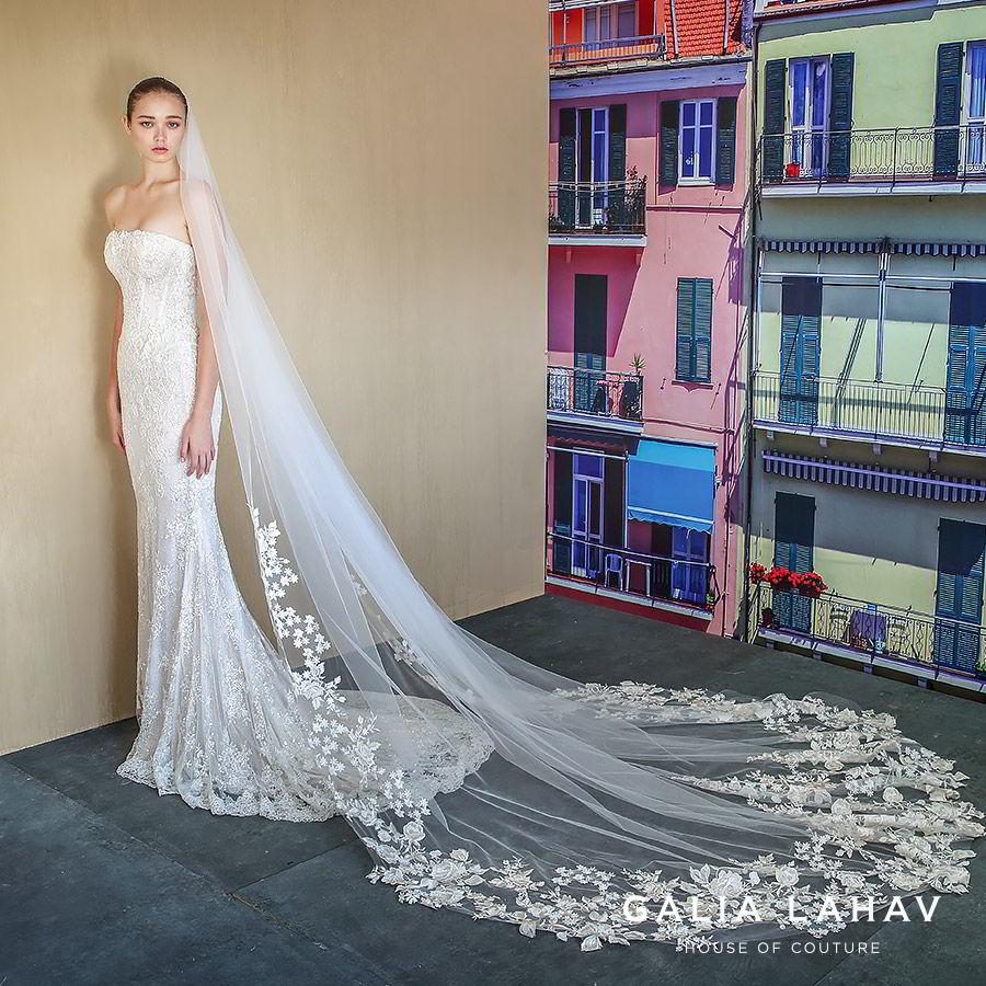 galia lahav fall 2019 bridal strapless straight across lace sheath mermaid wedding dress chapel train elegant romantic veil (alba) mv