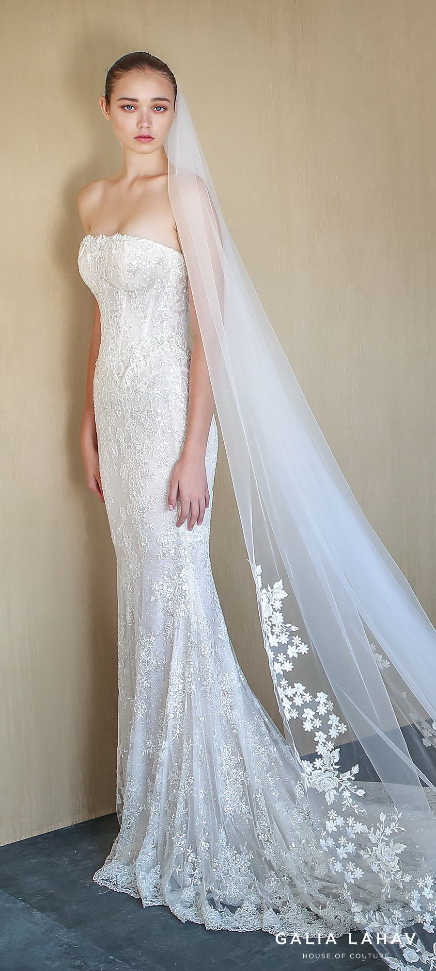galia lahav fall 2019 bridal strapless straight across lace sheath mermaid wedding dress chapel train elegant romantic veil (alba) zv