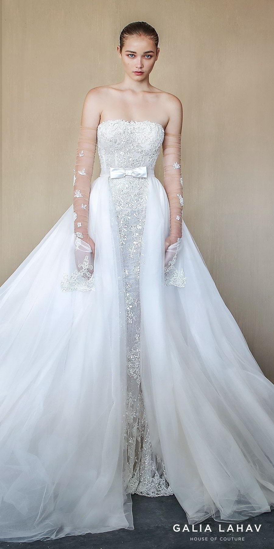 galia lahav fall 2019 bridal strapless straight across lace sheath mermaid wedding dress chapel train illusion a line overskirt gloves pockets elegant romantic (alba) zv