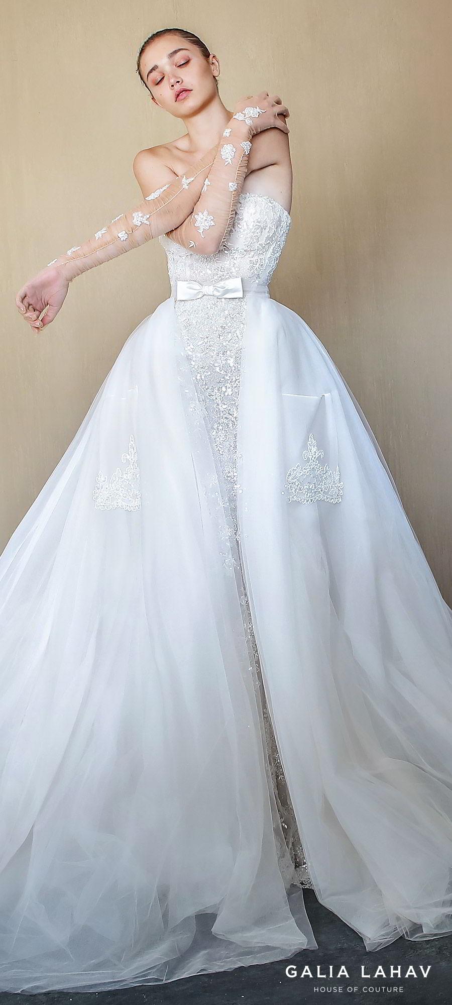 galia lahav fall 2019 bridal strapless straight across lace sheath mermaid wedding dress chapel train illusion a line overskirt pockets gloves elegant romantic (alba) zv