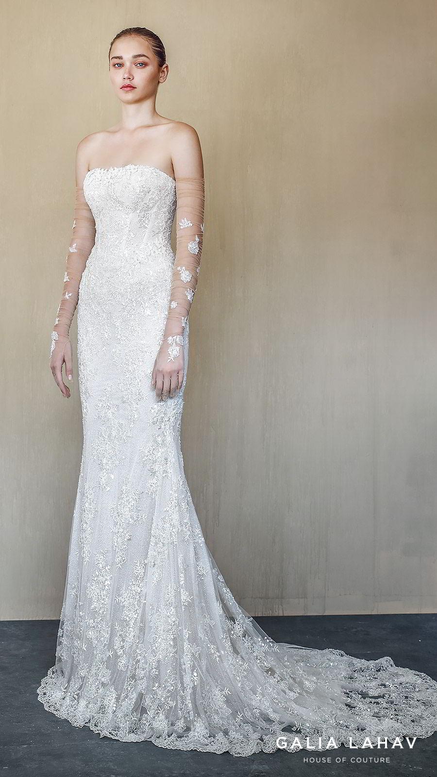 galia lahav fall 2019 bridal strapless straight across lace sheath mermaid wedding dress chapel train illusion gloves elegant romantic (alba) mv