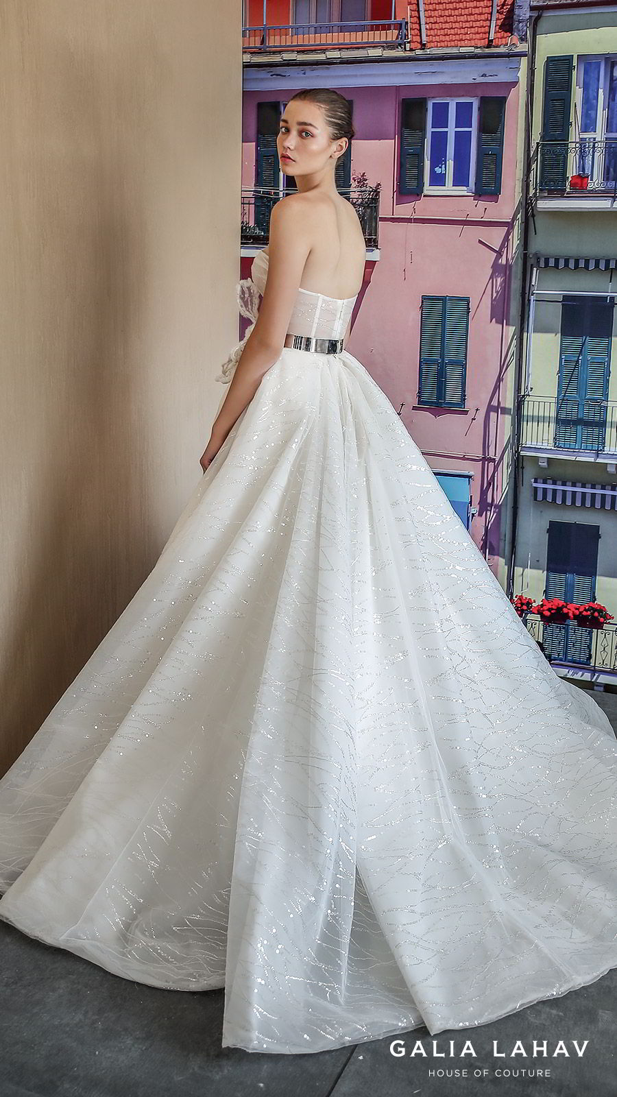 galia lahav fall 2019 bridal strapless sweetheart glitzy ball gown wedding dress slit skirt romantic sweep train (magdalena) bv