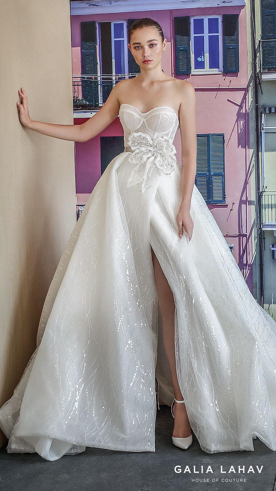 galia lahav fall 2019 bridal strapless sweetheart glitzy ball gown wedding dress slit skirt romantic sweep train (magdalena) mv