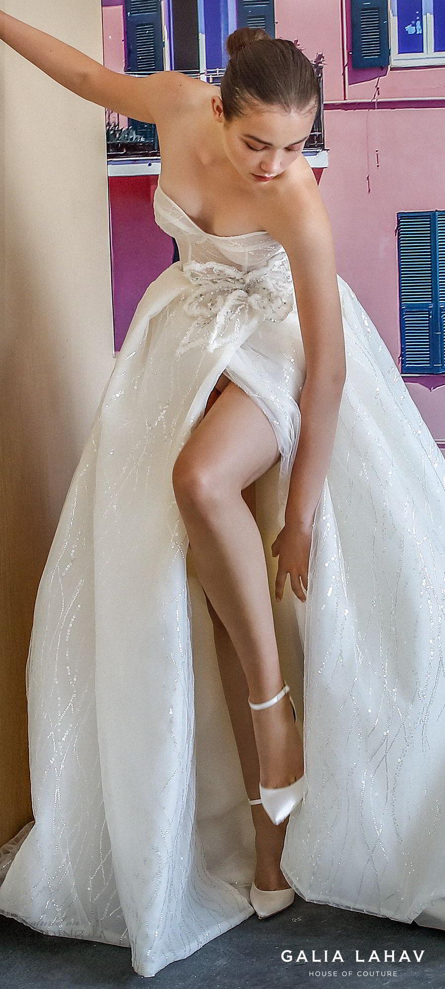 galia lahav fall 2019 bridal strapless sweetheart glitzy ball gown wedding dress slit skirt romantic sweep train (magdalena) zv