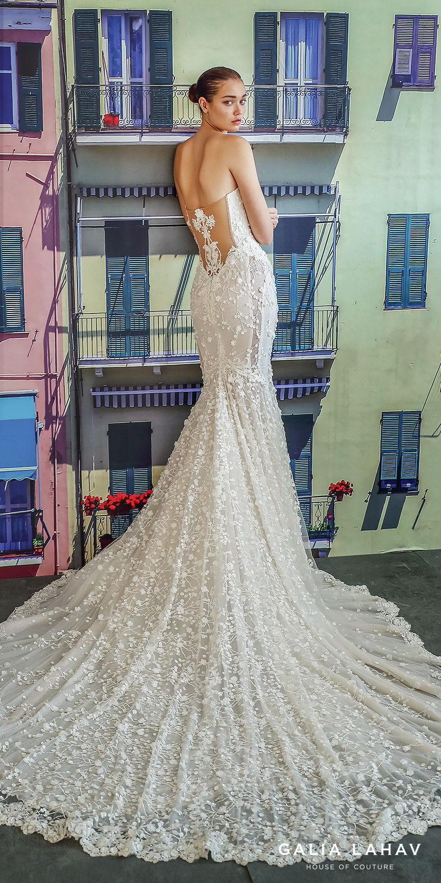 galia lahav fall 2019 bridal strapless sweetheart keyhole bodice fully embroidered lace mermaid wedding dress cathedral train illusion back (camilla) bv