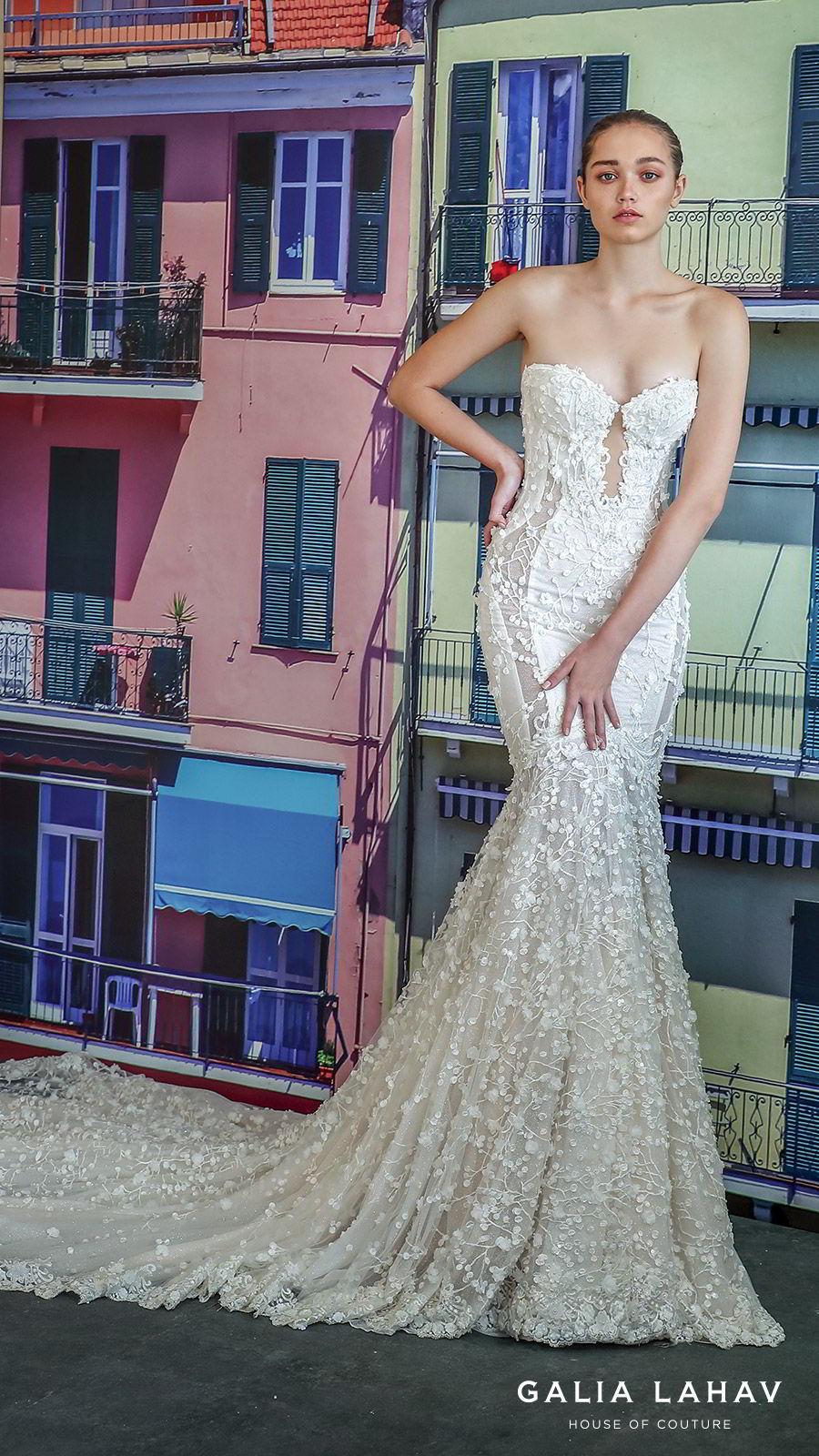 galia lahav fall 2019 bridal strapless sweetheart keyhole bodice fully embroidered lace mermaid wedding dress cathedral train illusion back (camilla) mv