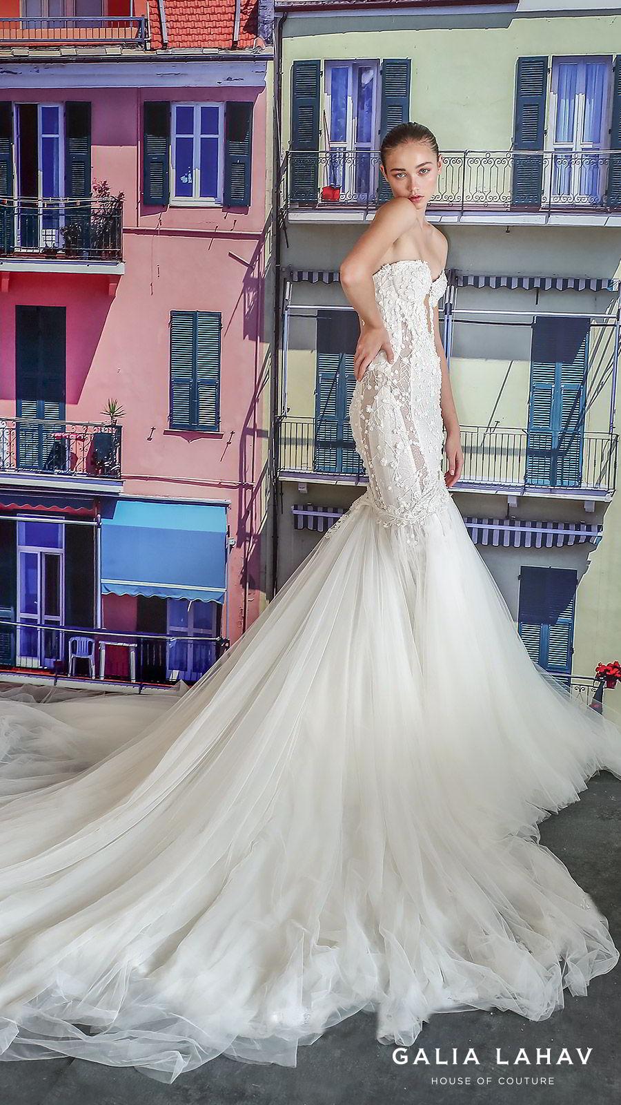 galia lahav fall 2019 bridal strapless sweetheart keyhole bodice fully embroidered lace mermaid wedding dress cathedral train illusion back overskirt (camilla) mv