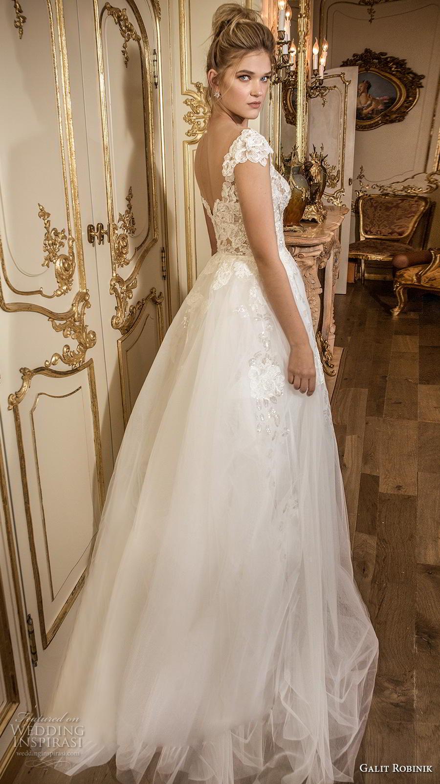 galit robinik 2019 bridal cap sleeves scoop neckline heavily embellished bodice romantic a  line wedding dress mid back sweep train (3) bv