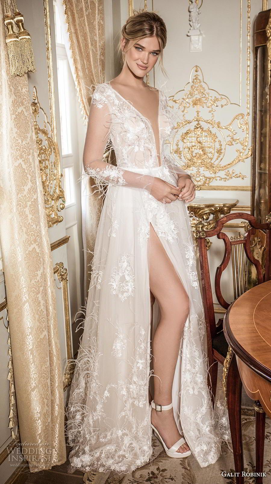galit robinik 2019 bridal long sleeves deep plunging v neck full embellishment slit skirt romantic sexy soft a  line wedding dress sweep train (11) mv