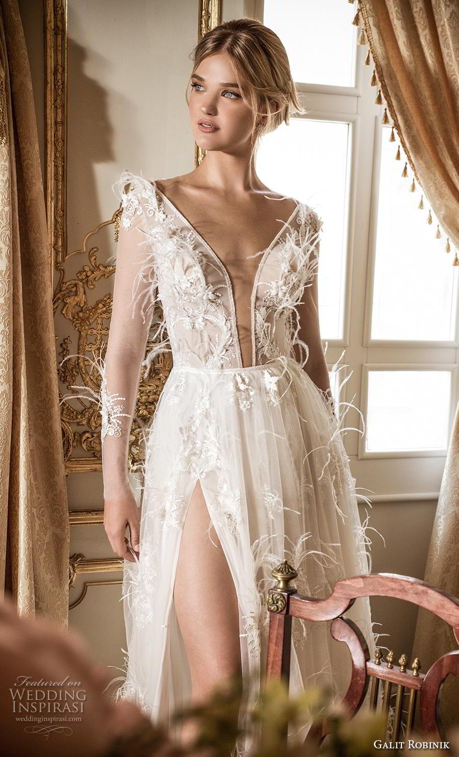 galit robinik 2019 bridal long sleeves deep plunging v neck full embellishment slit skirt romantic sexy soft a  line wedding dress sweep train (11) zv