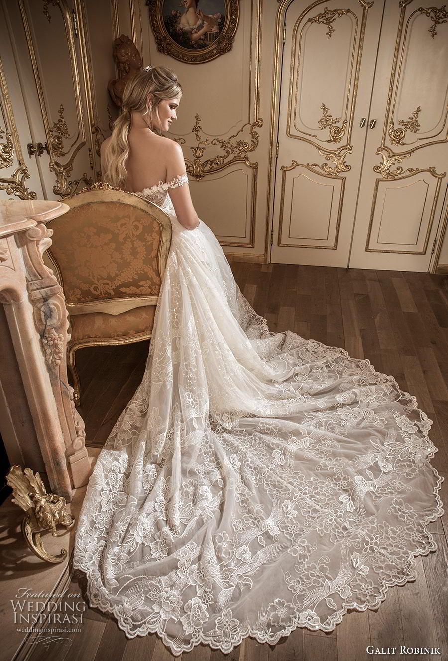 galit robinik 2019 bridal off the shoulder plunging sweetheart neckline full embellishment romantic a  line wedding dress chapel train (8) bv