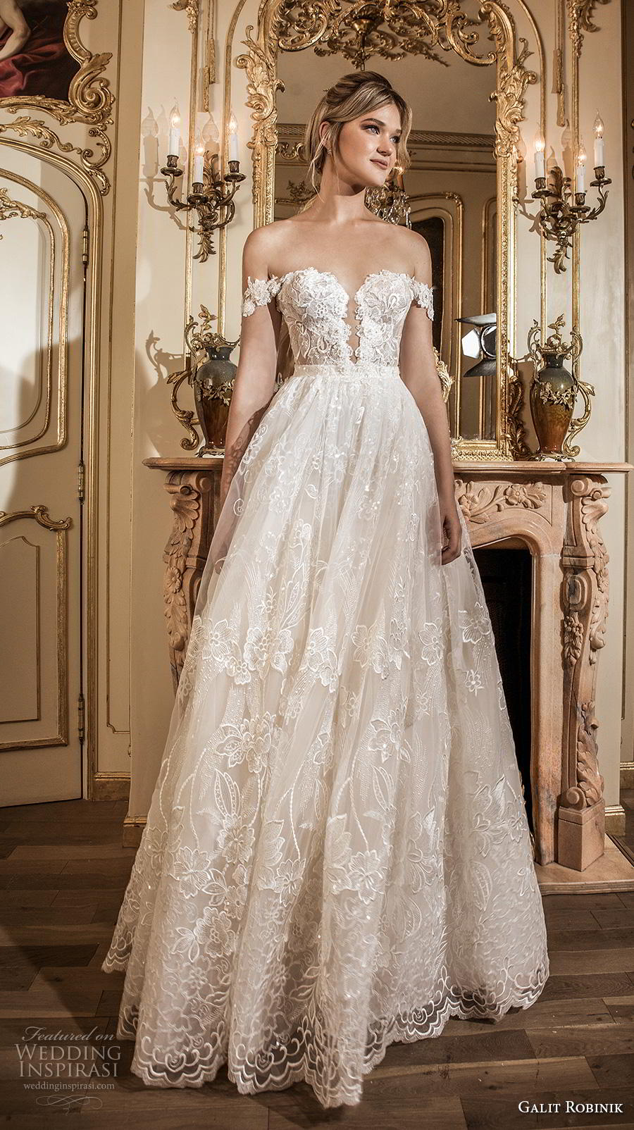 galit robinik 2019 bridal off the shoulder plunging sweetheart neckline full embellishment romantic a  line wedding dress chapel train (8) mv