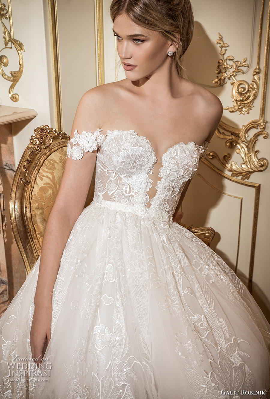 galit robinik 2019 bridal off the shoulder plunging sweetheart neckline full embellishment romantic a  line wedding dress chapel train (8) zv