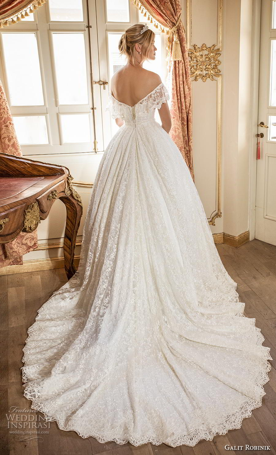 galit robinik 2019 bridal off the shoulder short sleeves plunging sweetheart neckline full embellishment romantic ball gown a  line wedding dress chapel train (9) bv