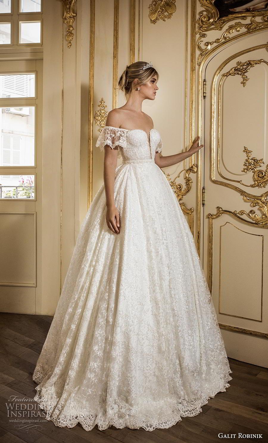 galit robinik 2019 bridal off the shoulder short sleeves plunging sweetheart neckline full embellishment romantic ball gown a  line wedding dress chapel train (9) mv