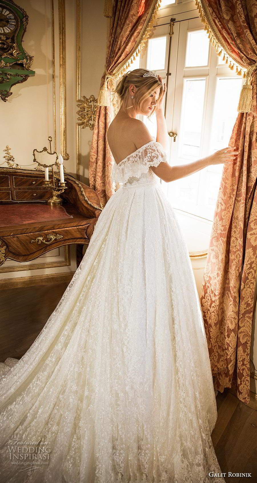galit robinik 2019 bridal off the shoulder short sleeves plunging sweetheart neckline full embellishment romantic ball gown a  line wedding dress chapel train (9) sdv