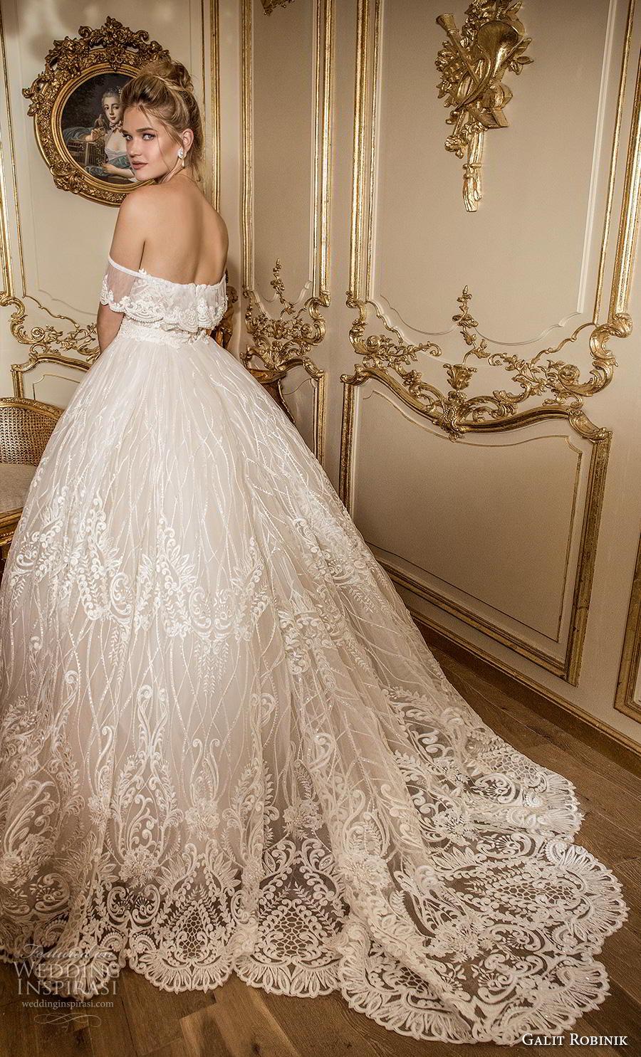 galit robinik 2019 bridal off the shoulder sweetheart neckline full embellishment romantic princess ball gown a  line wedding dress mid back chapel train (1) bv