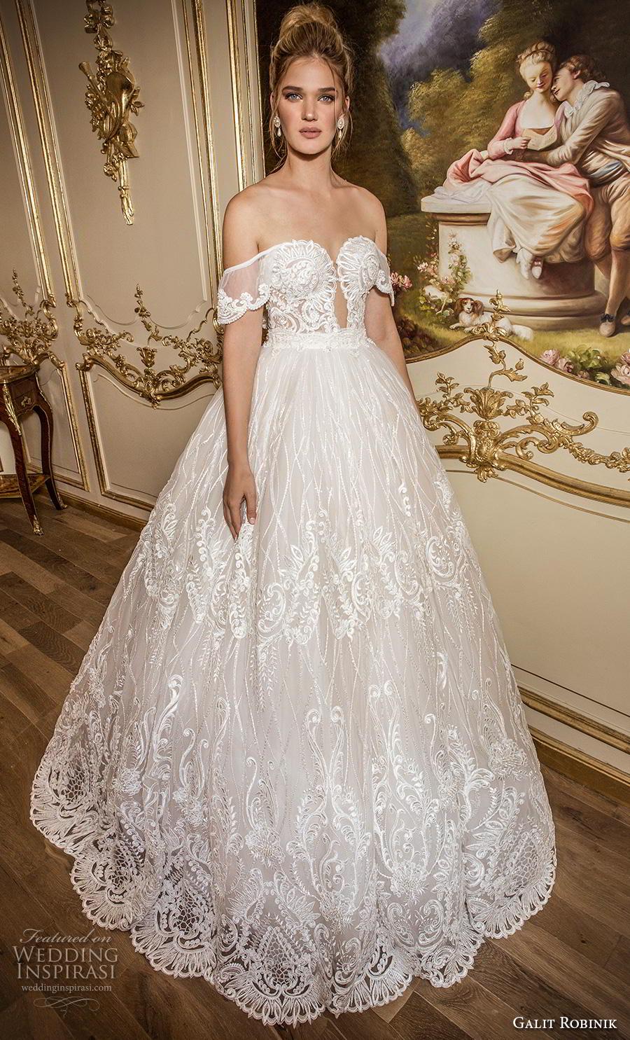 galit robinik 2019 bridal off the shoulder sweetheart neckline full embellishment romantic princess ball gown a  line wedding dress mid back chapel train (1) mv