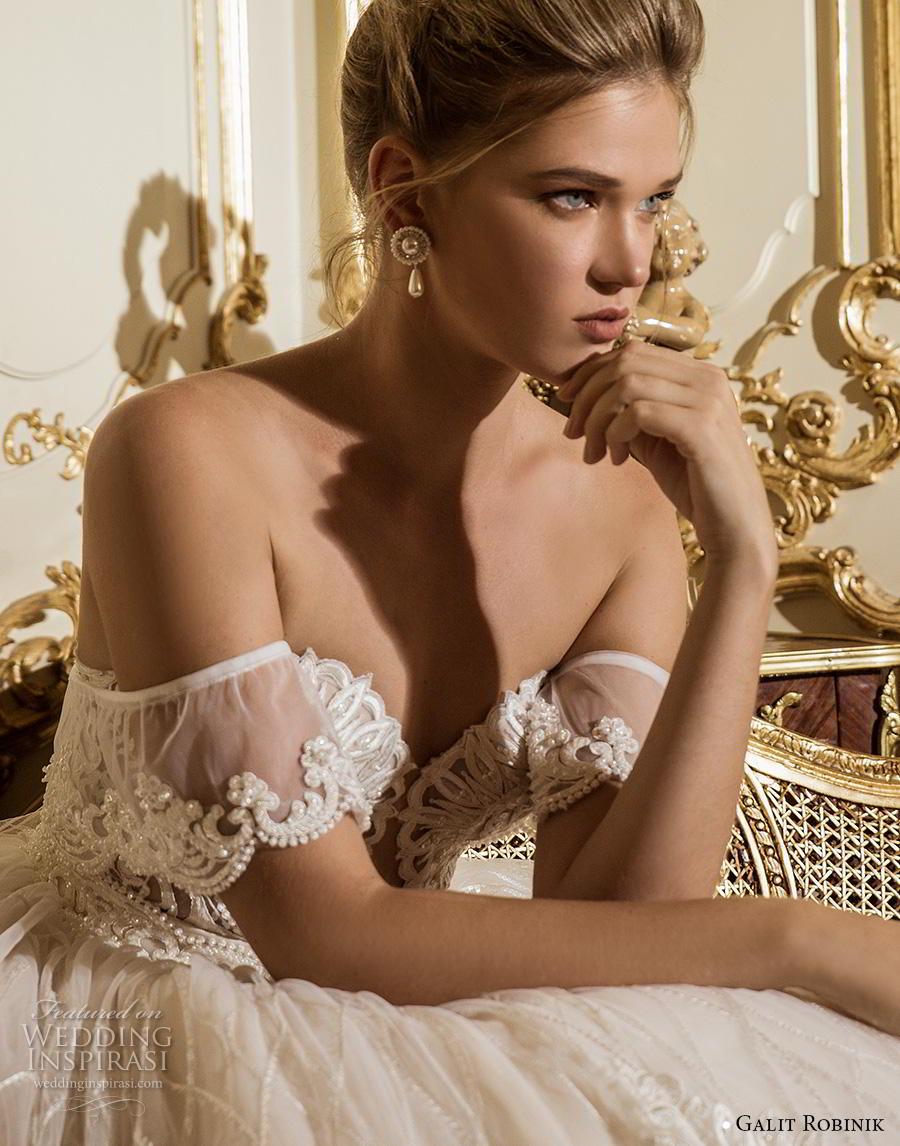 galit robinik 2019 bridal off the shoulder sweetheart neckline full embellishment romantic princess ball gown a  line wedding dress mid back chapel train (1) zv