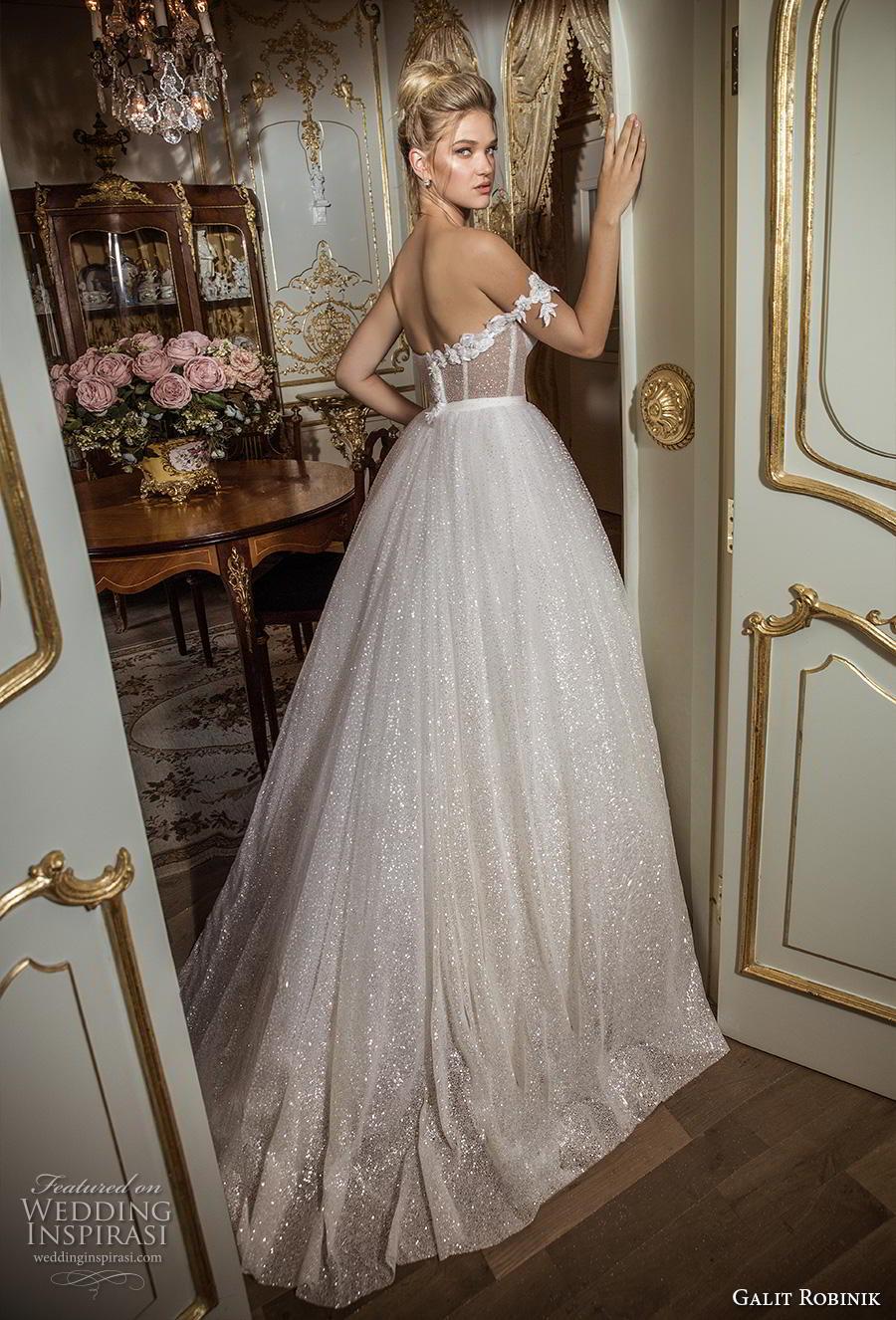 galit robinik 2019 bridal one shoulder sweetheart neckline full embellishment bustier glitzy romantic ball gown a  line wedding dress mid back chapel train (6) bv