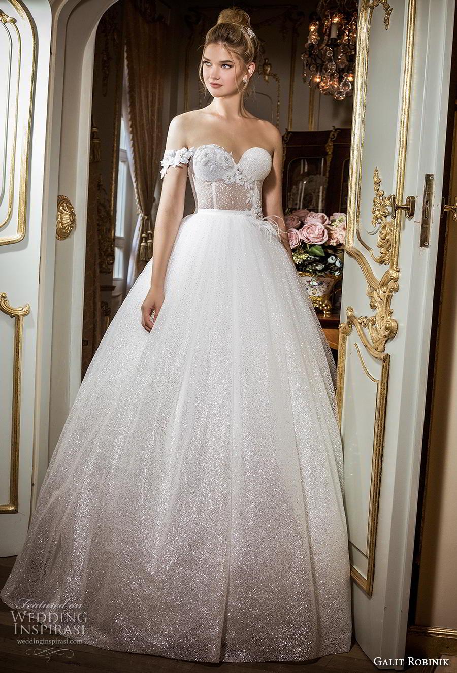 galit robinik 2019 bridal one shoulder sweetheart neckline full embellishment bustier glitzy romantic ball gown a  line wedding dress mid back chapel train (6) mv
