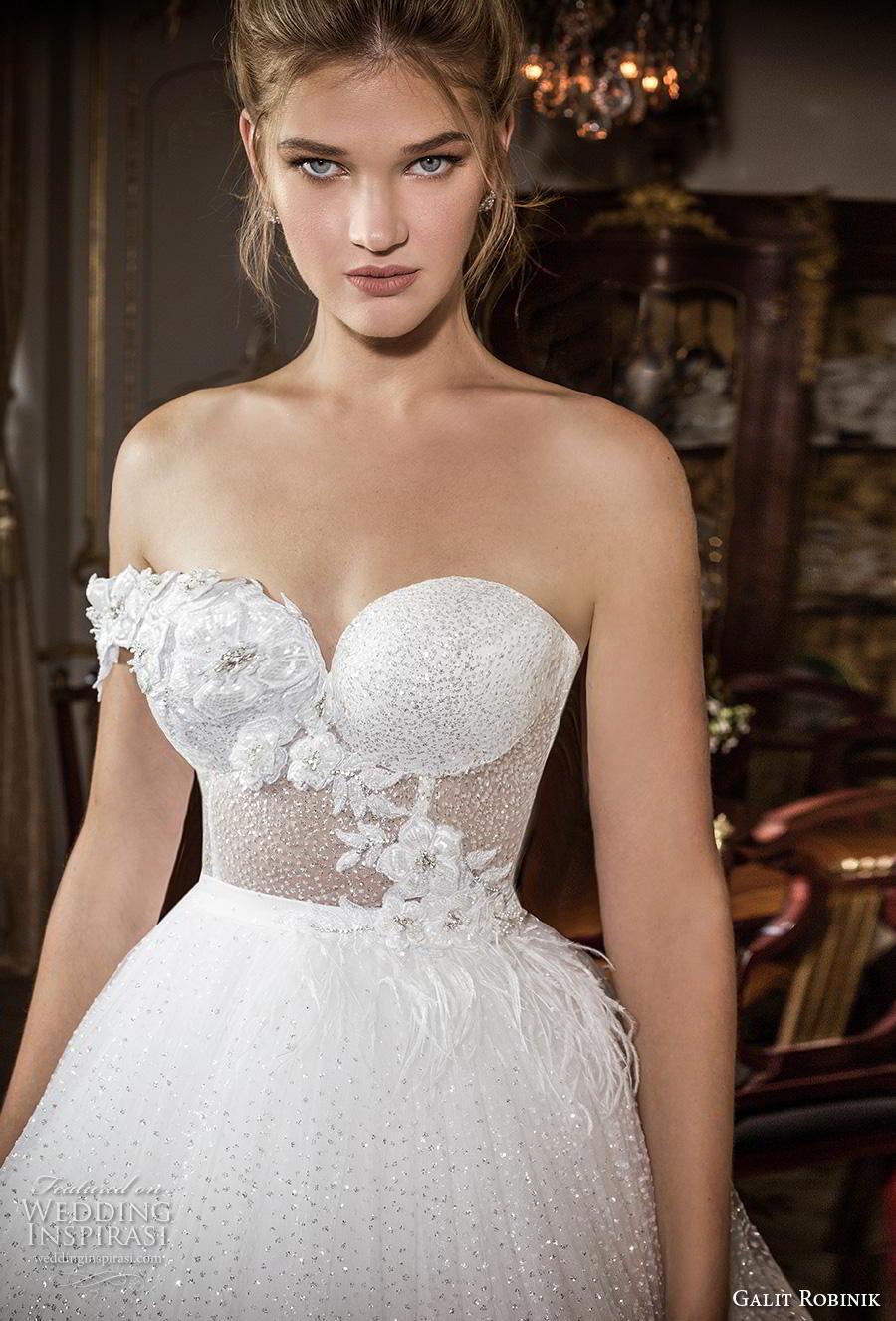 galit robinik 2019 bridal one shoulder sweetheart neckline full embellishment bustier glitzy romantic ball gown a  line wedding dress mid back chapel train (6) zv