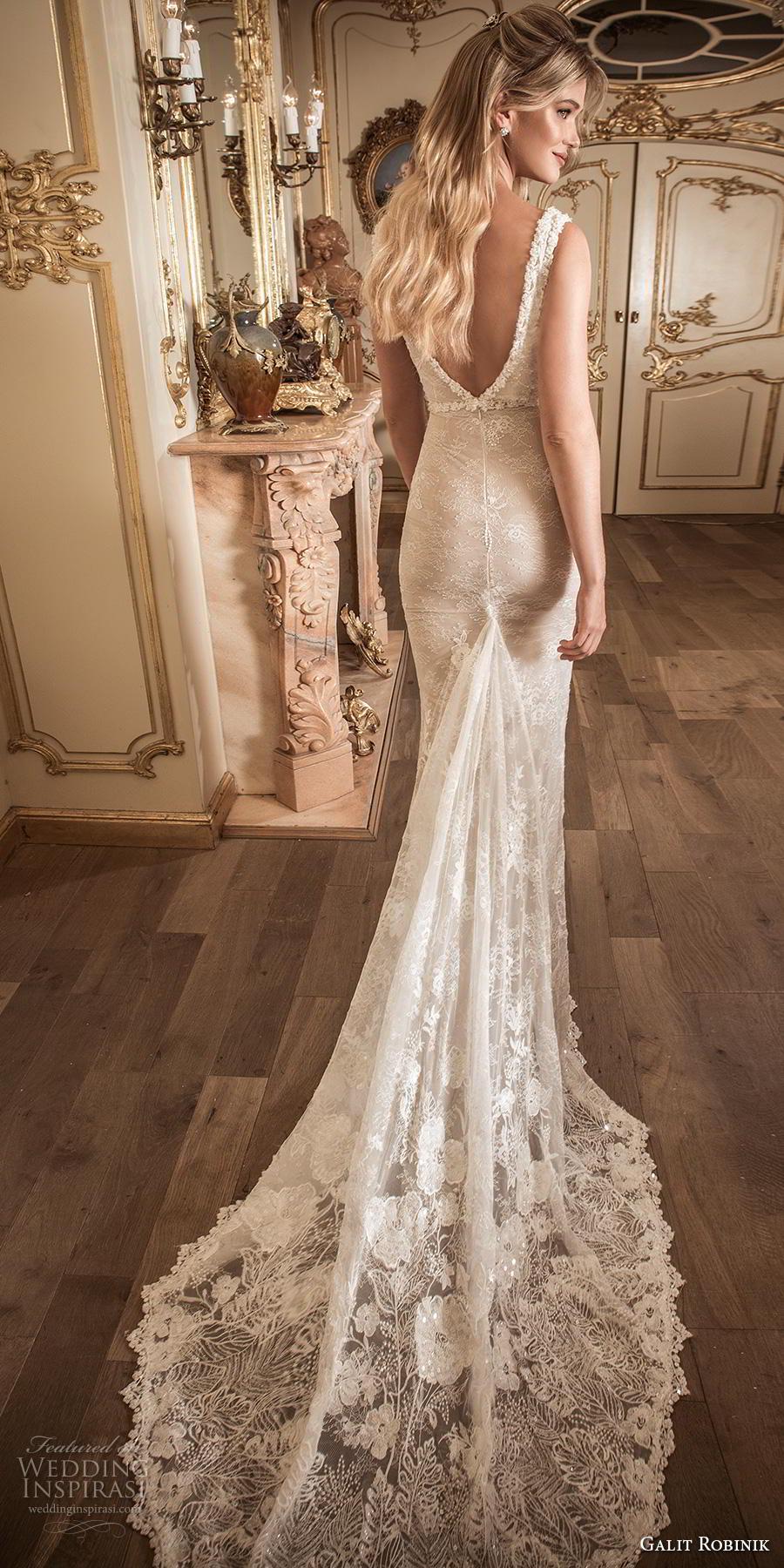 galit robinik 2019 bridal sleeveless with strap deep plunging v neck full embellishment elegant fit and flare sheath wedding dress backless v back chapel train (10) bv