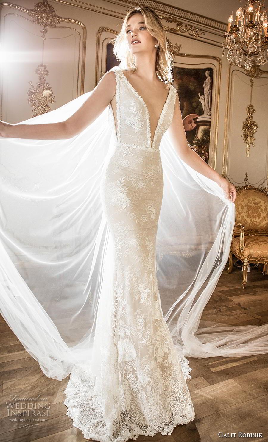 galit robinik 2019 bridal sleeveless with strap deep plunging v neck full embellishment elegant fit and flare sheath wedding dress backless v back chapel train (10) mv