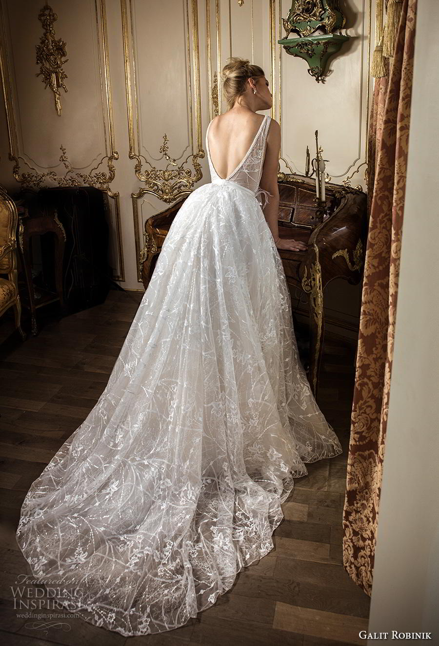 galit robinik 2019 bridal sleeveless with strap deep plunging v neck full  embellishment romantic ball gown b8c0a5309