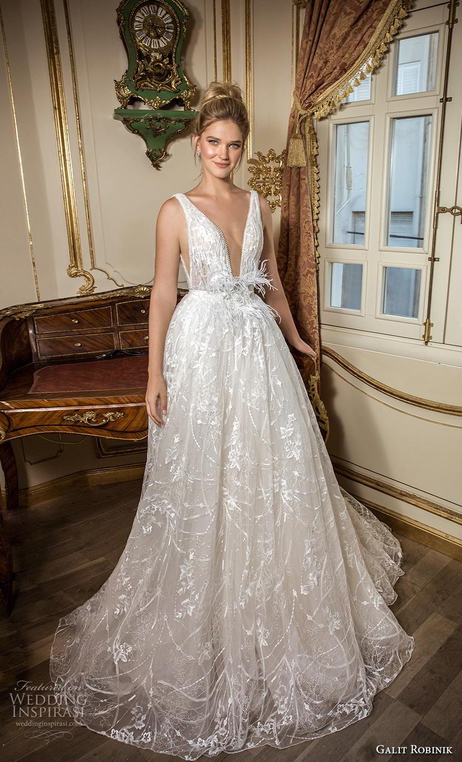 galit robinik 2019 bridal sleeveless with strap deep plunging v neck full embellishment romantic ball gown a  line wedding dress backless v back chapel train (7) mv