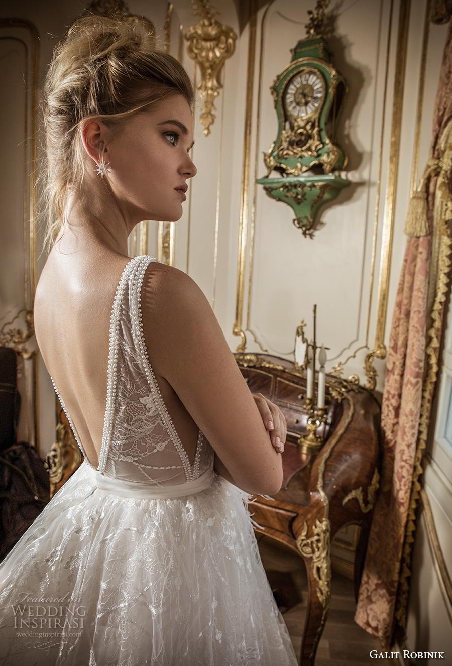 galit robinik 2019 bridal sleeveless with strap deep plunging v neck full embellishment romantic ball gown a  line wedding dress backless v back chapel train (7) zbv