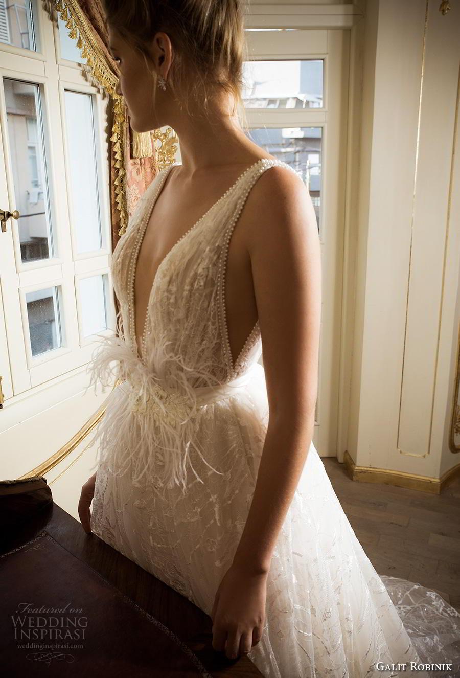 galit robinik 2019 bridal sleeveless with strap deep plunging v neck full embellishment romantic ball gown a  line wedding dress backless v back chapel train (7) zsdv