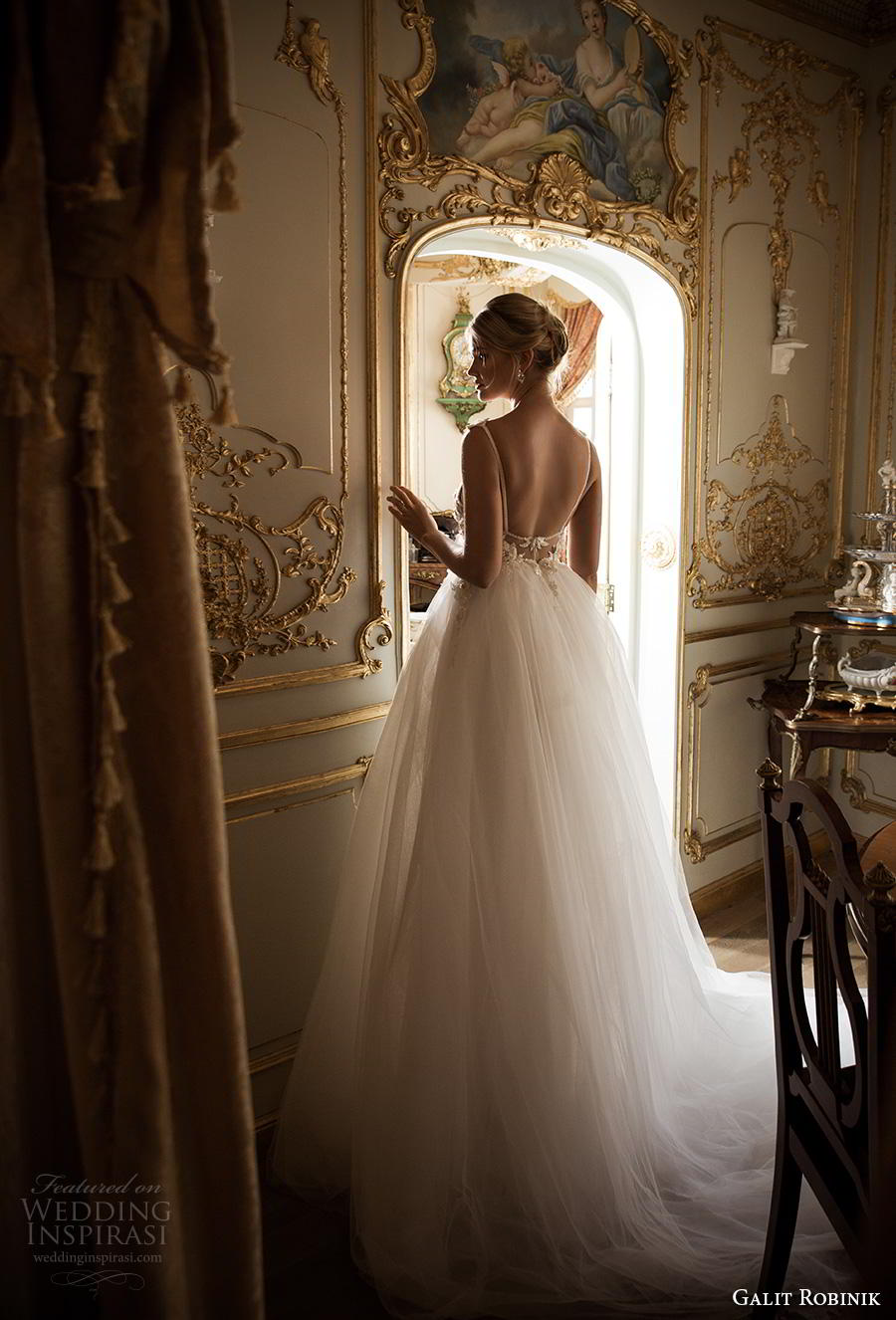 galit robinik 2019 bridal spaghetti strap deep plunging sweetheart neckline heavily embellished bodice tulle skirt sexy romantic soft a  line wedding dress backless chapel train (12) bv
