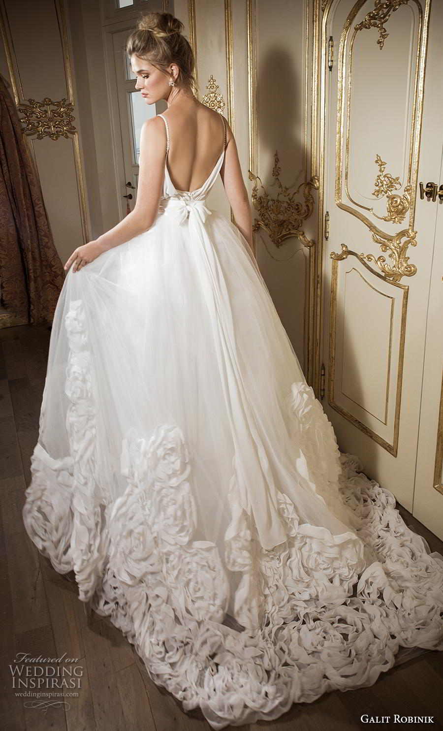 galit robinik 2019 bridal thin strap deep plunging sweetheart neckline ruched bodice romantic a  line wedding dress backless scoop back chapel train (4) bv