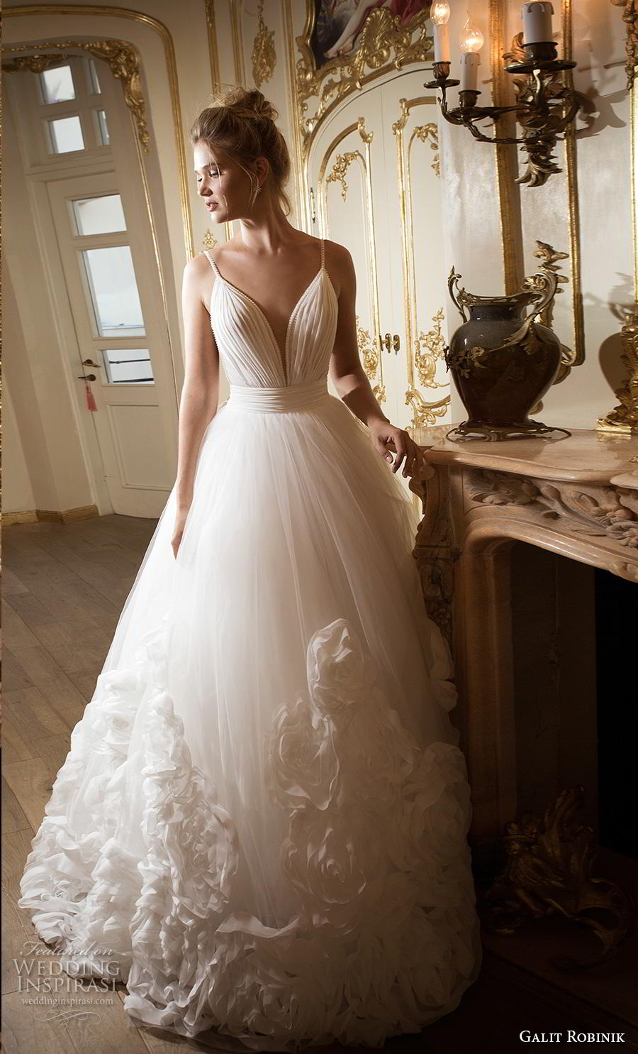 galit robinik 2019 bridal thin strap deep plunging sweetheart neckline ruched bodice romantic a  line wedding dress backless scoop back chapel train (4) mv