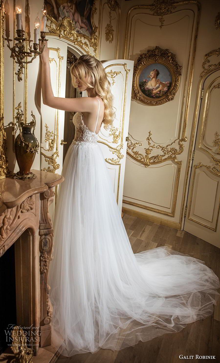 galit robinik 2019 bridal thin strap deep sweetheart neckline full embellishment elegant romantic fit and flare wedding dress a  line overskirt backless chapel train (2) sdv