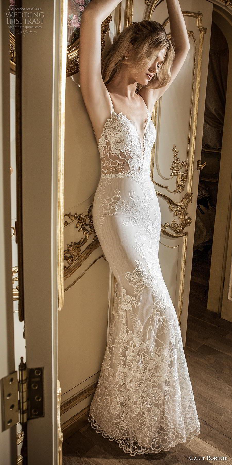galit robinik 2019 bridal thin strap deep sweetheart neckline full embellishment elegant romantic fit and flare wedding dress backless chapel train (2) mv