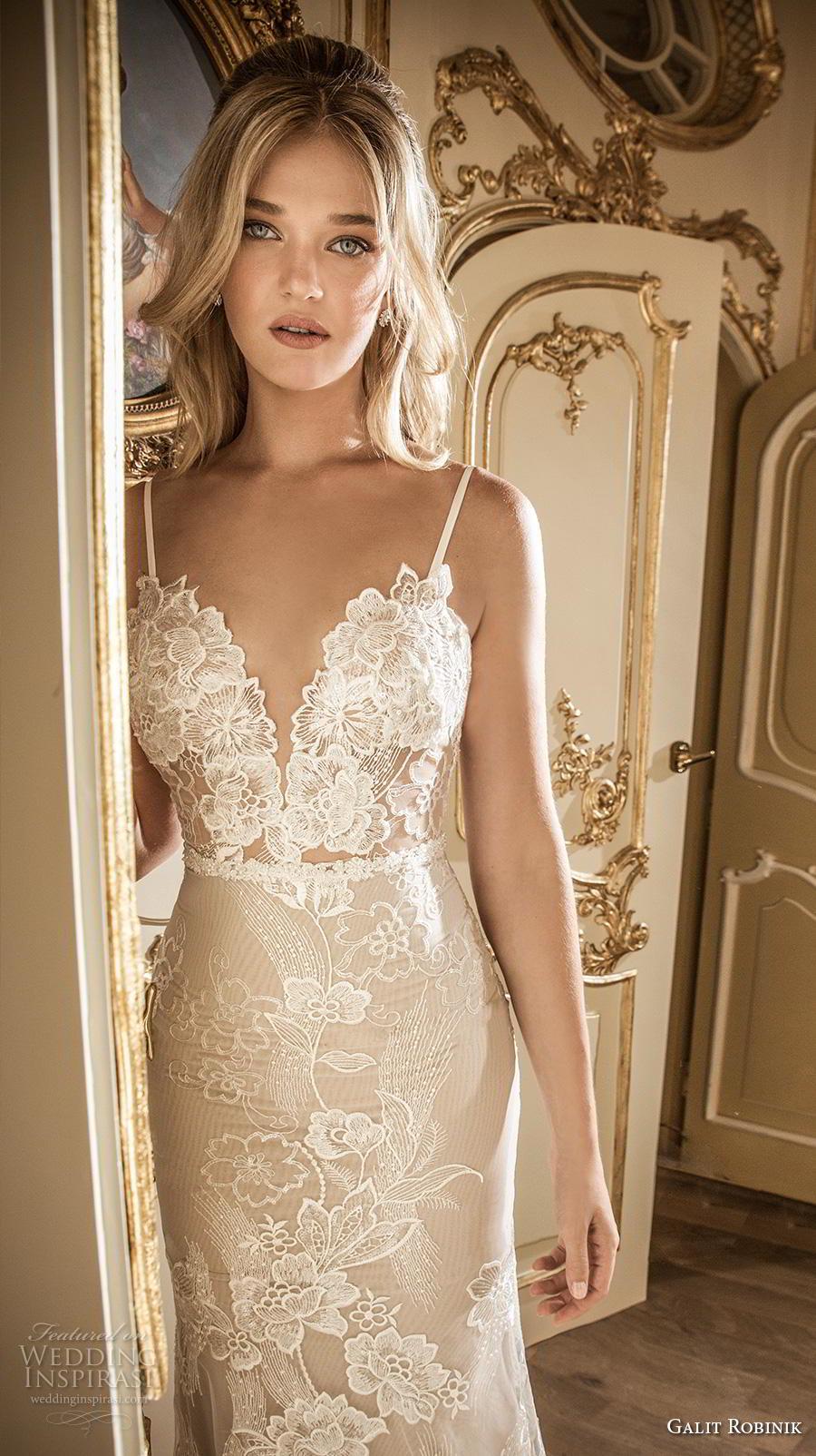 galit robinik 2019 bridal thin strap deep sweetheart neckline full embellishment elegant romantic fit and flare wedding dress backless chapel train (2) zv