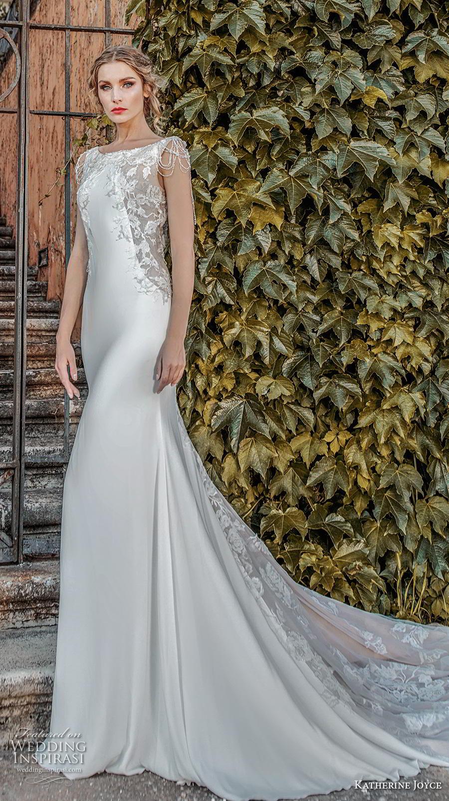 katherine joyce 2019 bridal cap sleeves bateau neck heavily embellished bodice elegant fit and flare sheath wedding dress v back chapel train (13) mv