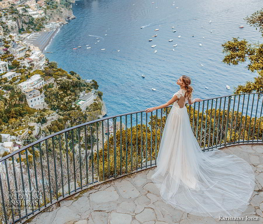 katherine joyce 2019 bridal cap sleeves illusion high neck heavily embellished bodice glamorous romantic a  line wedding dress sheer button back chapel train (8) bv
