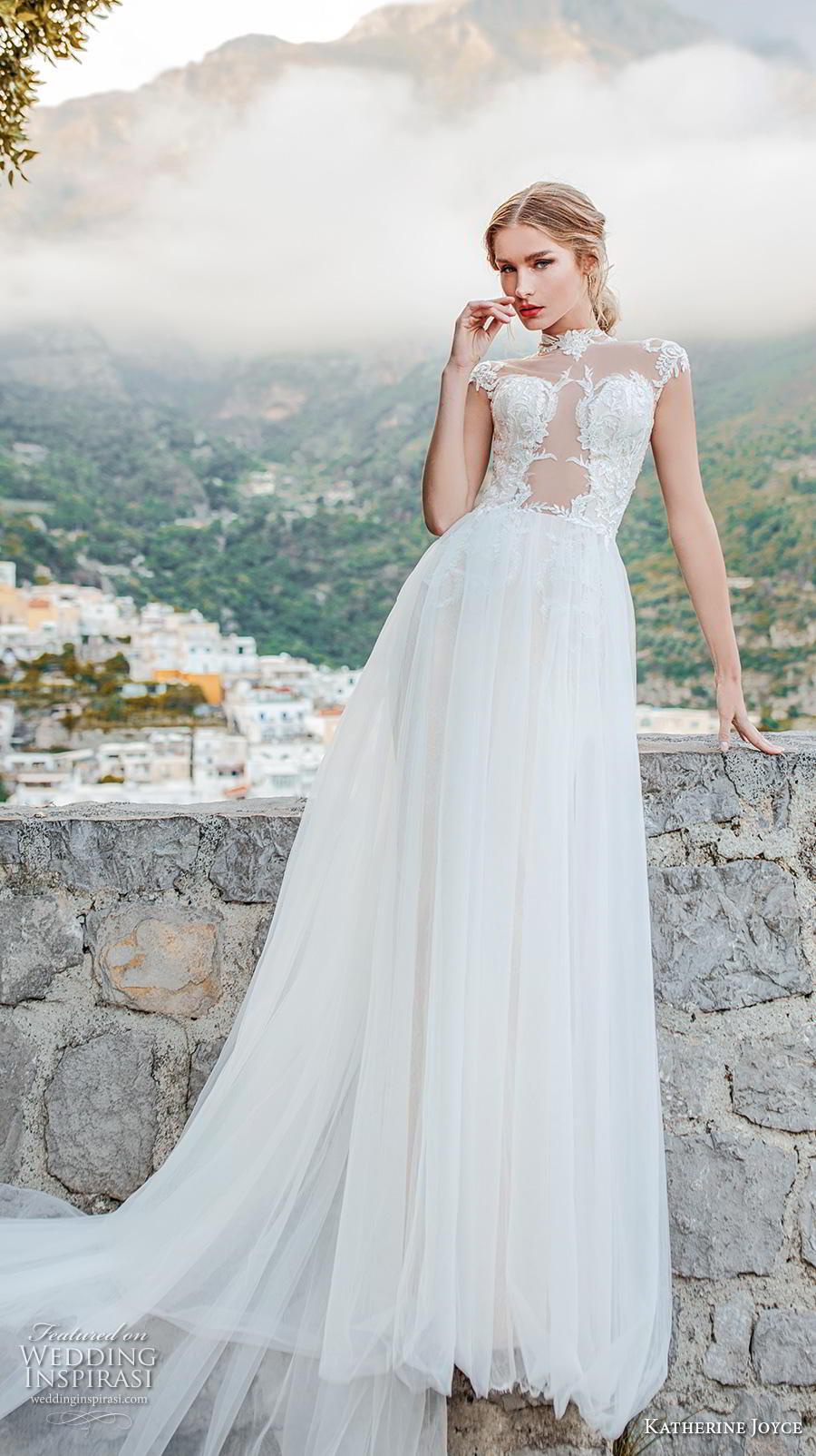katherine joyce 2019 bridal cap sleeves illusion high neck heavily embellished bodice glamorous romantic a  line wedding dress sheer button back chapel train (8) mv