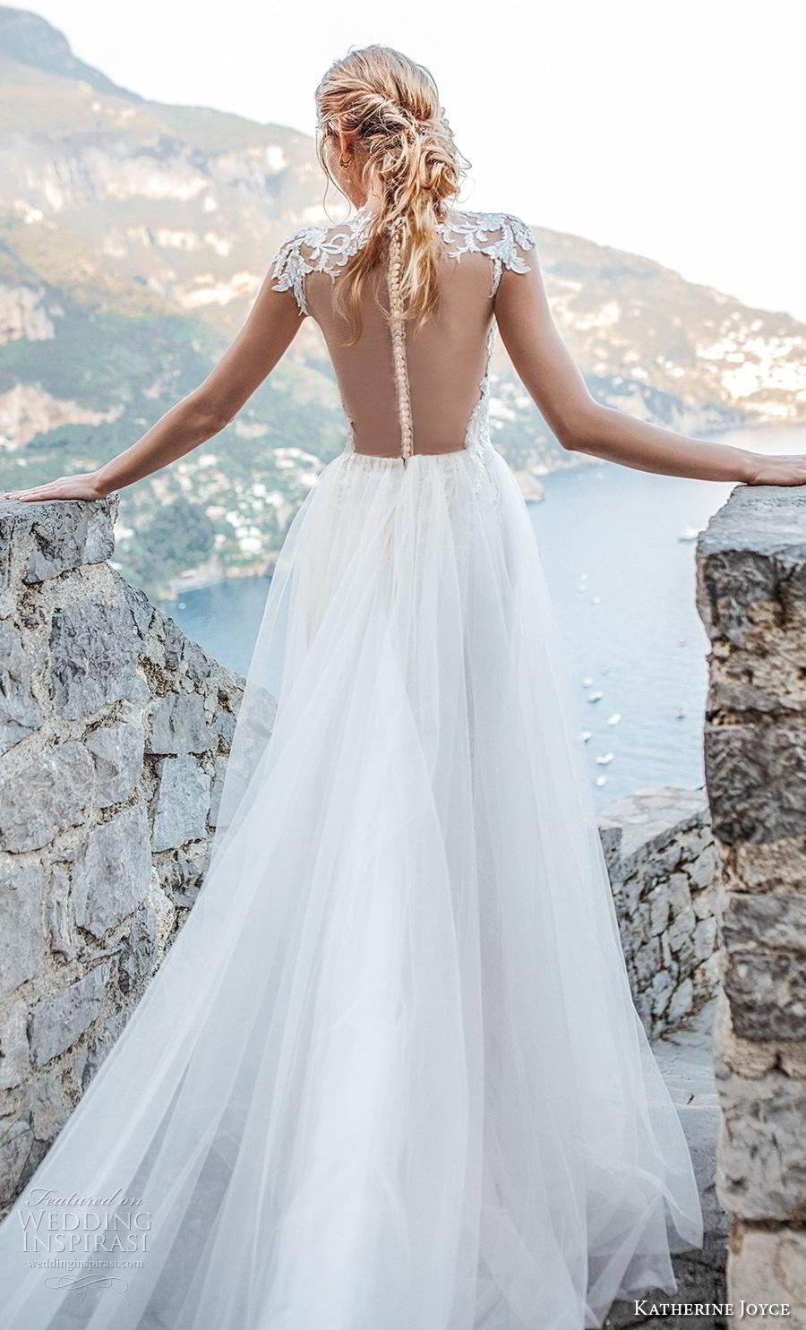 katherine joyce 2019 bridal cap sleeves illusion high neck heavily embellished bodice glamorous romantic a  line wedding dress sheer button back chapel train (8) zbv
