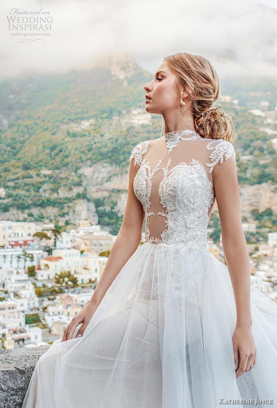 katherine joyce 2019 bridal cap sleeves illusion high neck heavily embellished bodice glamorous romantic a  line wedding dress sheer button back chapel train (8) zv
