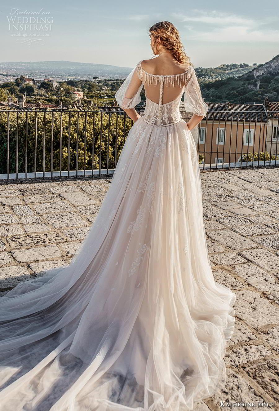 katherine joyce 2019 bridal half puff sleeves illusion bateau sweetheart neckline heavily embellished bodice romantic a  line wedding dress sheer button back chapel train (7) bv