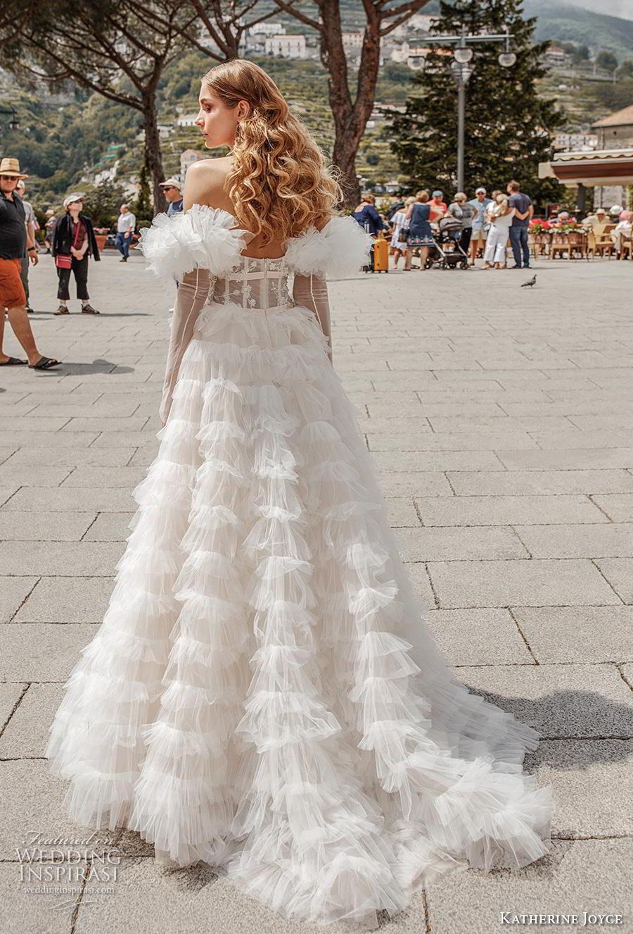 katherine joyce 2019 bridal long sleeves off the shoulder sweetheart neckline lightly embellished bodice tiered skirt romantic a  line wedding dress short train (6) bv