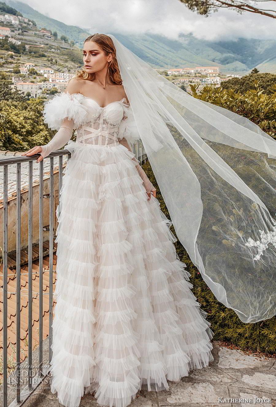 katherine joyce 2019 bridal long sleeves off the shoulder sweetheart neckline lightly embellished bodice tiered skirt romantic a  line wedding dress short train (6) mv