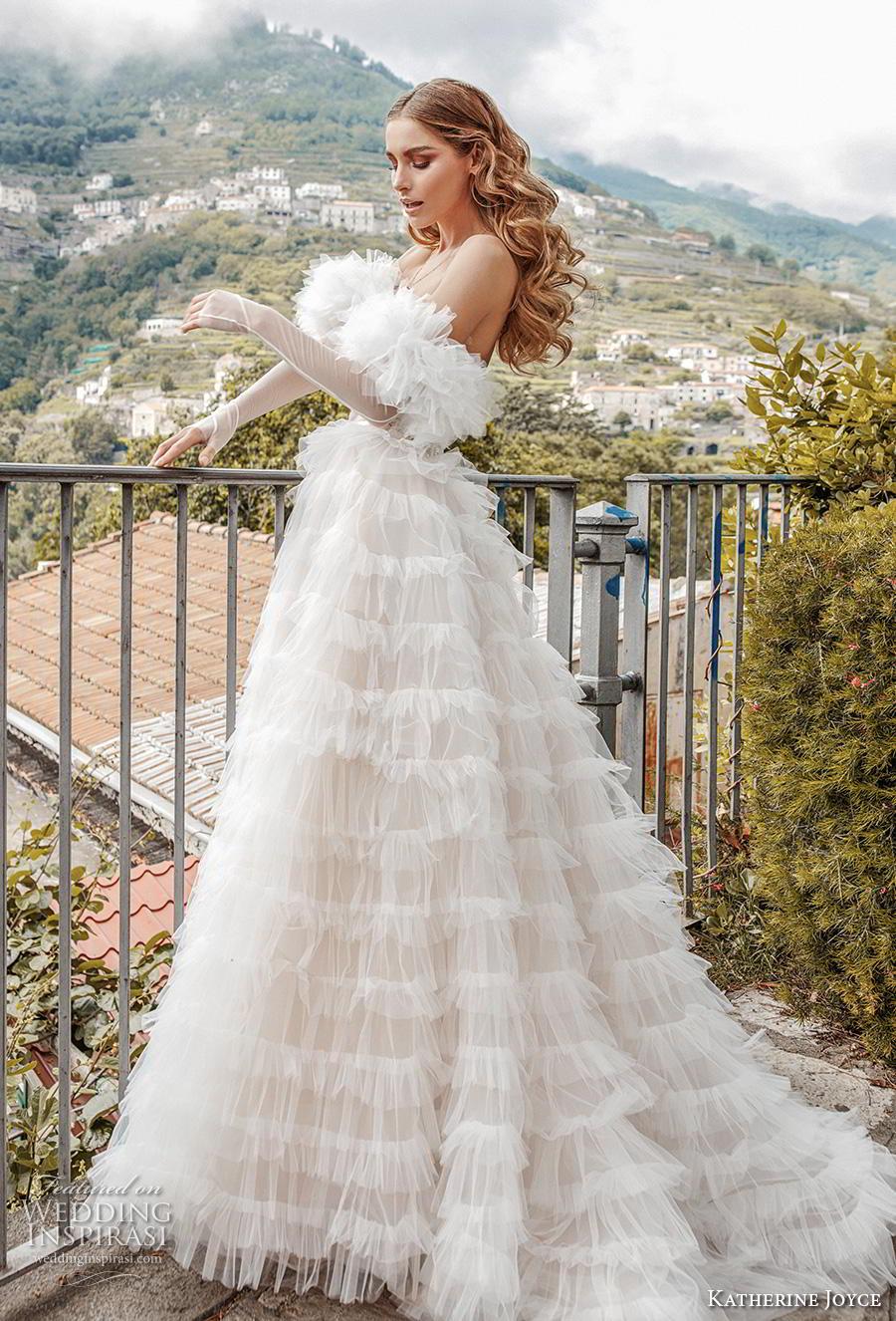 katherine joyce 2019 bridal long sleeves off the shoulder sweetheart neckline lightly embellished bodice tiered skirt romantic a  line wedding dress short train (6) sdv
