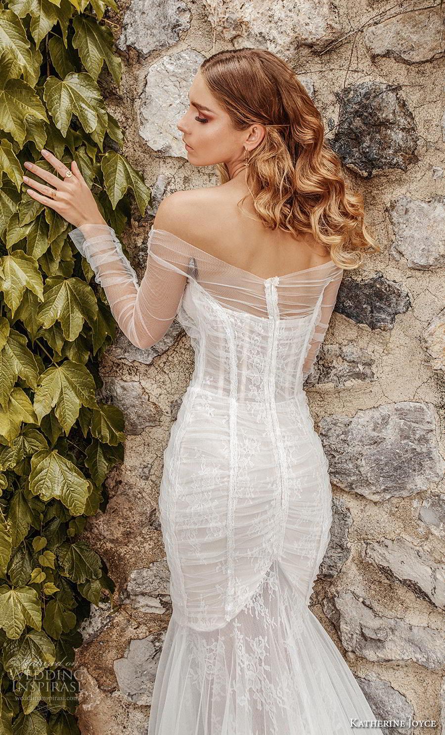 katherine joyce 2019 bridal long sleeves off the shoulder sweetheart neckline ruched bodie elegant sexy mermaid wedding dress medium train (9) zbv